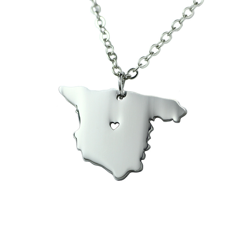 Best selling fashion stainless steel silver state Spain country shaped necklaces