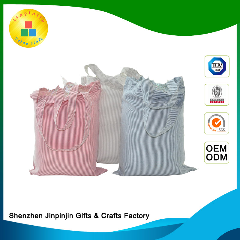 Fashion custom recycled popular foldable cotton drawstring shopping bag