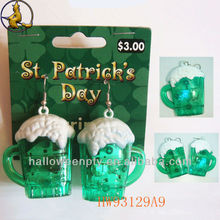Plastic Beer Glass Shape Irish Day LED Earrings