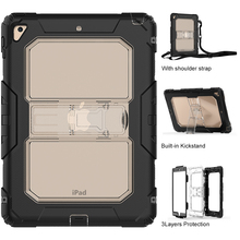 Factory New Design Clear Case for iPad Air 2 with Shoulder Strap with Kickstand