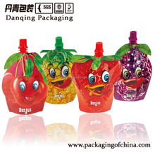 Customized size laminated material aluminum foil orange juice packaging bag with spout