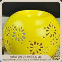 Homeware Decorative Table Top Elegant Yellow Glzaed Ceramic Candle Holders