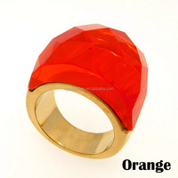 Wholesale Stainless Steel Gold Ring Wedding Jewelry Big Crystal Rings For Women Vintage Large Stone Rings Party Gift