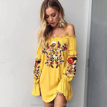 monroo Summer Dress Women Plus Size Pin Up Yellow Loose Bohemian Dresses Hippie Long Sleeve Off Shoulder Dress Tunic Robe Femme