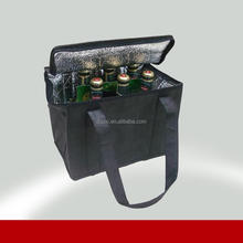 Aluminum foil insulated 6 bottle German beer cooler bag for advertising
