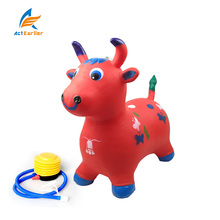 Red Music cow 2018 Kids' Gift Eco-friendly Plastic Inflatable children's toy stool PVC Animal Jumping cow toys quickly shipping