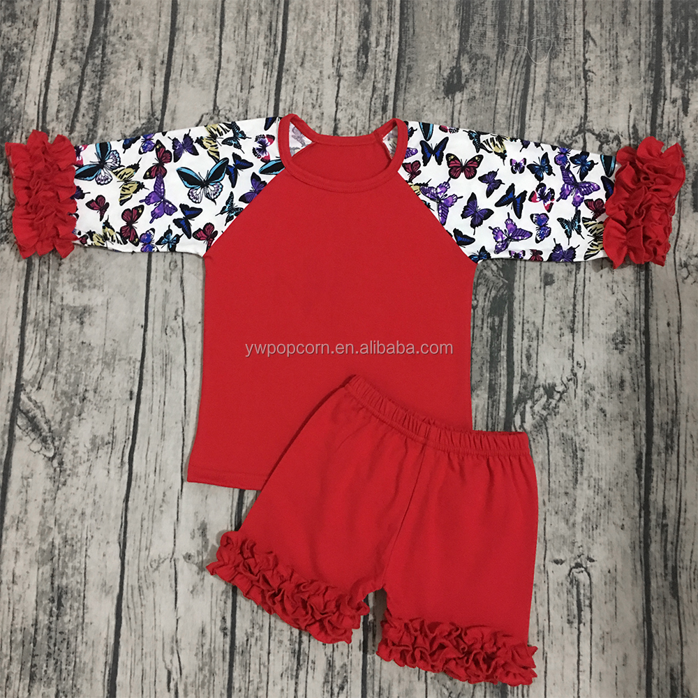High quality kids floral clothes set summer ruffle raglan top and shorts outfit infant toddlers clothing