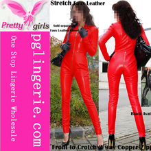 Wholesale Sexy Leather Open Bust Red Full Bodysuits red latex catsuit for Women