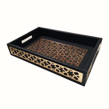 Serving Wood Tray Flower Carving Small Tray Rectangle With Metal Handles Wholesale Wooden Craft Serving Tray