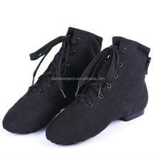 New Adult/Child Canvas Low Heel Lace Up Jazz Ankle Boots Women/Men Black Dance Practice Dance Shoes