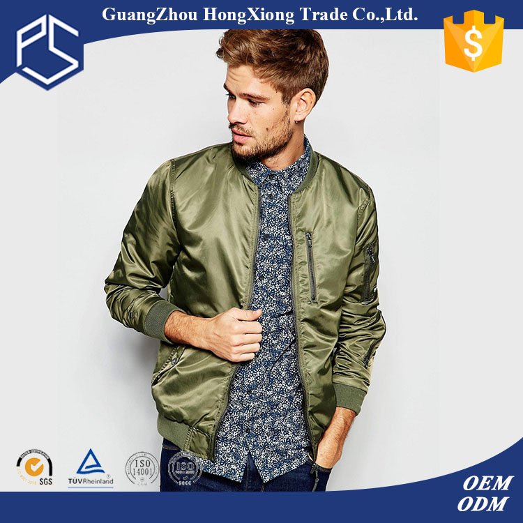 Factory OEM forest green 230gsm zipper through Men fashion dubai leather jacket