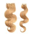 wholesale Factory price #27 Blonde color body wave clip in hair extensions for white women