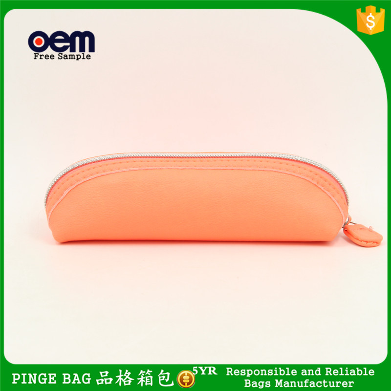 Wholesale Portable Cute Minimalist Leather Pencil Case Coin Purse Pouch Fashion Cosmetic Makeup Bag (<strong>Orange</strong>)