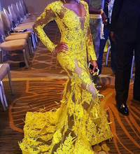 Yellow Sexy V Neck Long Sleeve Mermaid Lace Party Prom Dress Zipper Evening Dress With Feather
