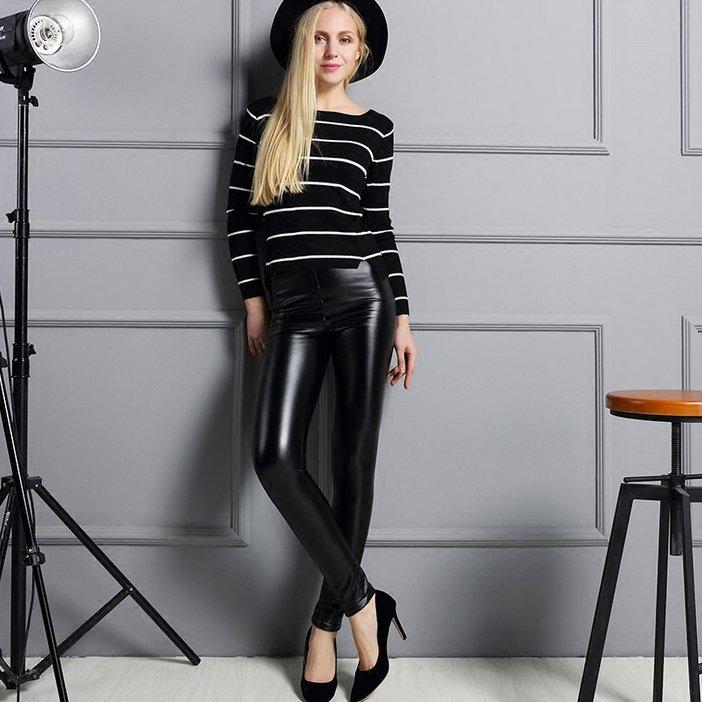 Hot Sale Wholesale Good Quality Custom Women Leather Trousers And Pants High Waist
