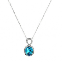 light natural blue sapphire 925 silver pendant