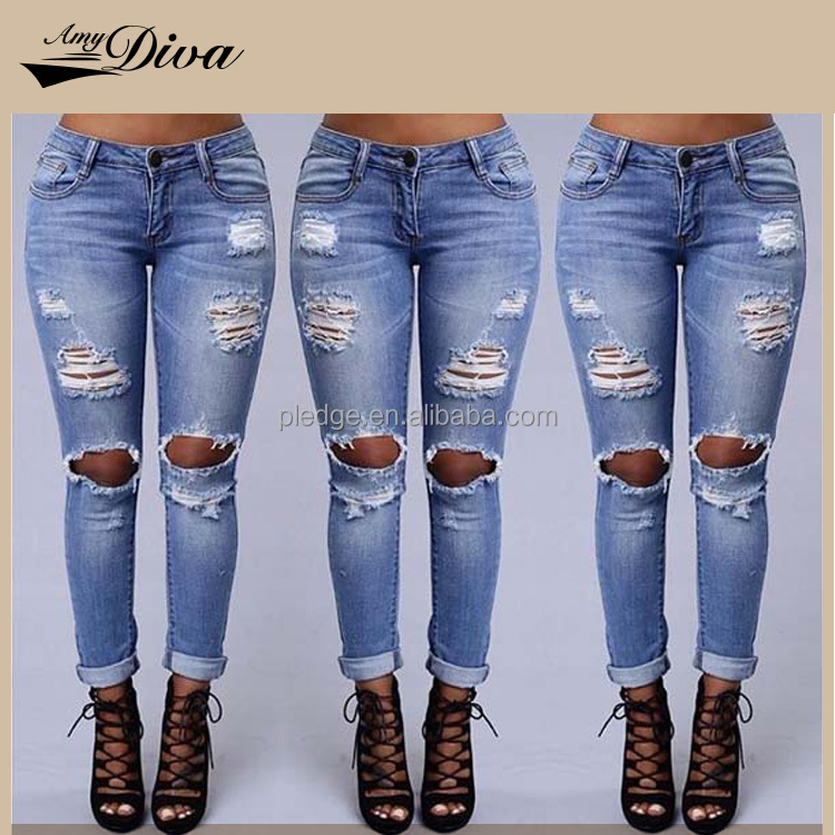 New style fashion oem ladies jeans trousers wholesale top design ripped denim jeans pants pent for women