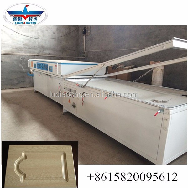 Factory price pvc foil Vacuum membrane press machine with two stations for kitchen cabinet door/ photo frame making