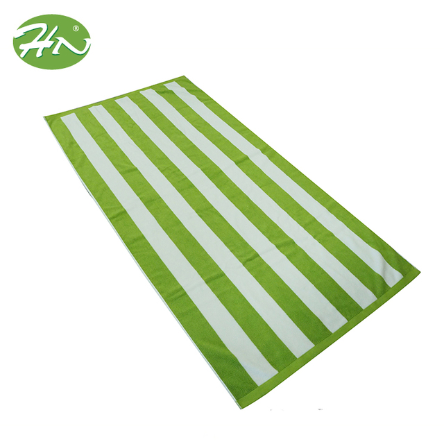 Wholesale Custom Terry Stripe Yarn Dyed Beach Towel With Fringes