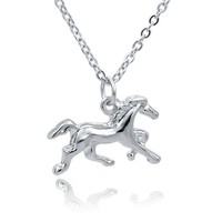 Fashion Jewelry Silver Horse Charm Pendant Necklace
