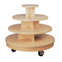 4 Tiers Maple Retail Store Display Table with Wheels