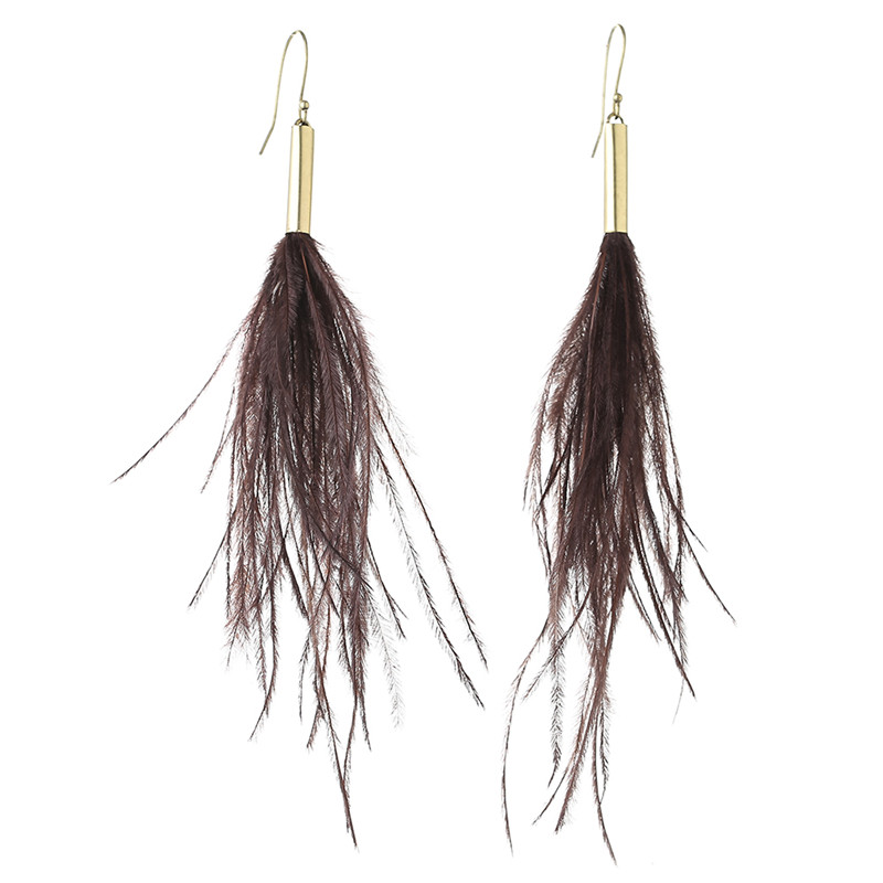 Dark Brown Ostrich Feather New 2016 Latest Gold Earring Designs