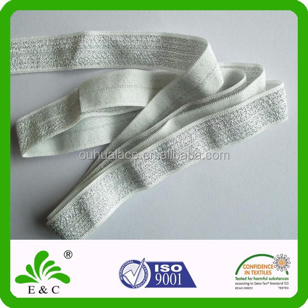 Fine Quality Silver Glitter Fold Over Elastic FOE for ornament and accessories