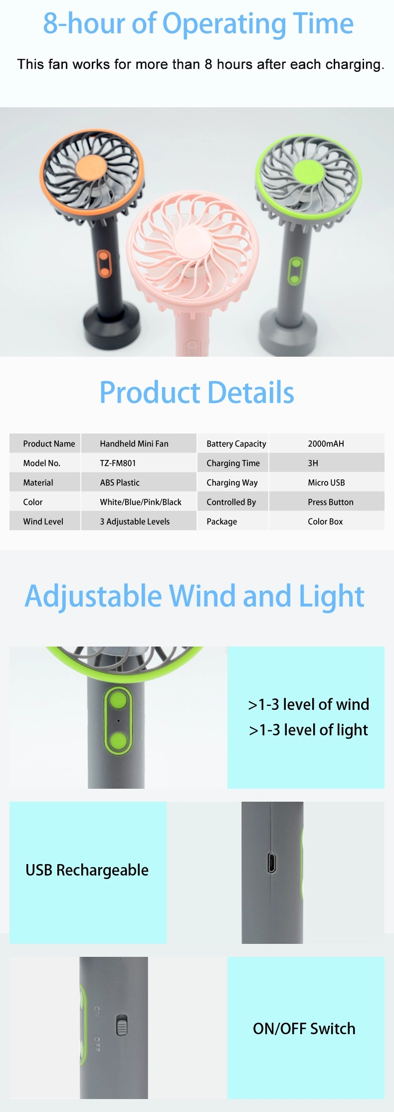 Factory Rechargeable LED Light up Mini Fan Electric Summer Air Cooling Portable usb fan