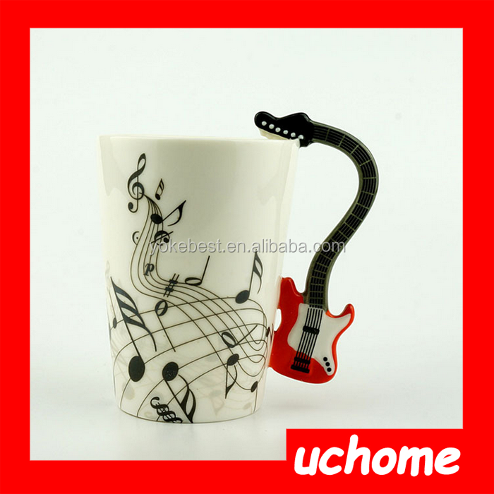 UCHOME Novelty Musical Ceramic Guitar Mug With Guitar Shape Handle