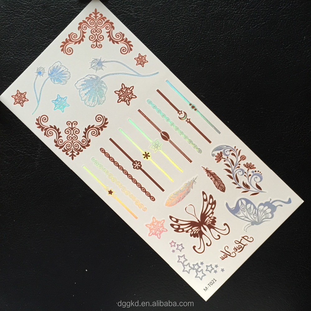 hot-selling glitter metallic temporary tattoo ,flash flower tattoos,bracelet tattoo sticker