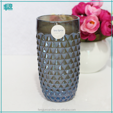 FJ-GB117L wholesale cheap price blue carved glass scented pineapple candle