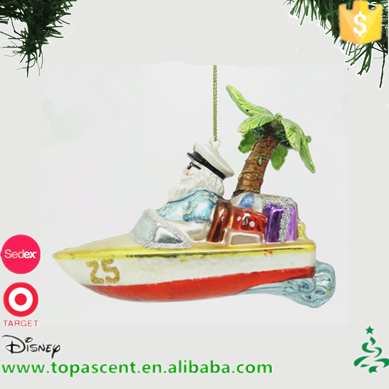 Popular hanging hand blown glass police santa dirving yacht with coconut palm ornament for decorations in christmas