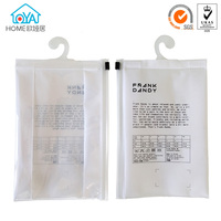 Hanger Hook Clear Plastic Zipper Underwear Packaging Bags With Handle