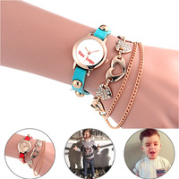 Custom Lovely Children Kids Round Dial Leather Women Lady Girls Watches