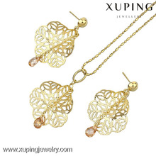 60600 xuping 14k fashion pakistani gold stone leaf shaped jewelry sets