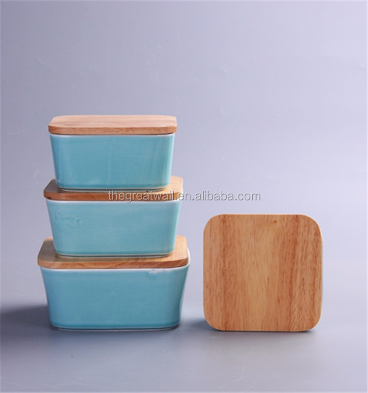 Portable Wholesale colour glaze tableware mexican ceramic bowl,ceramic canister square with wooden lid,lunch box food container