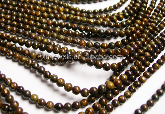 Natural stone Bronzite 4mm Round beads