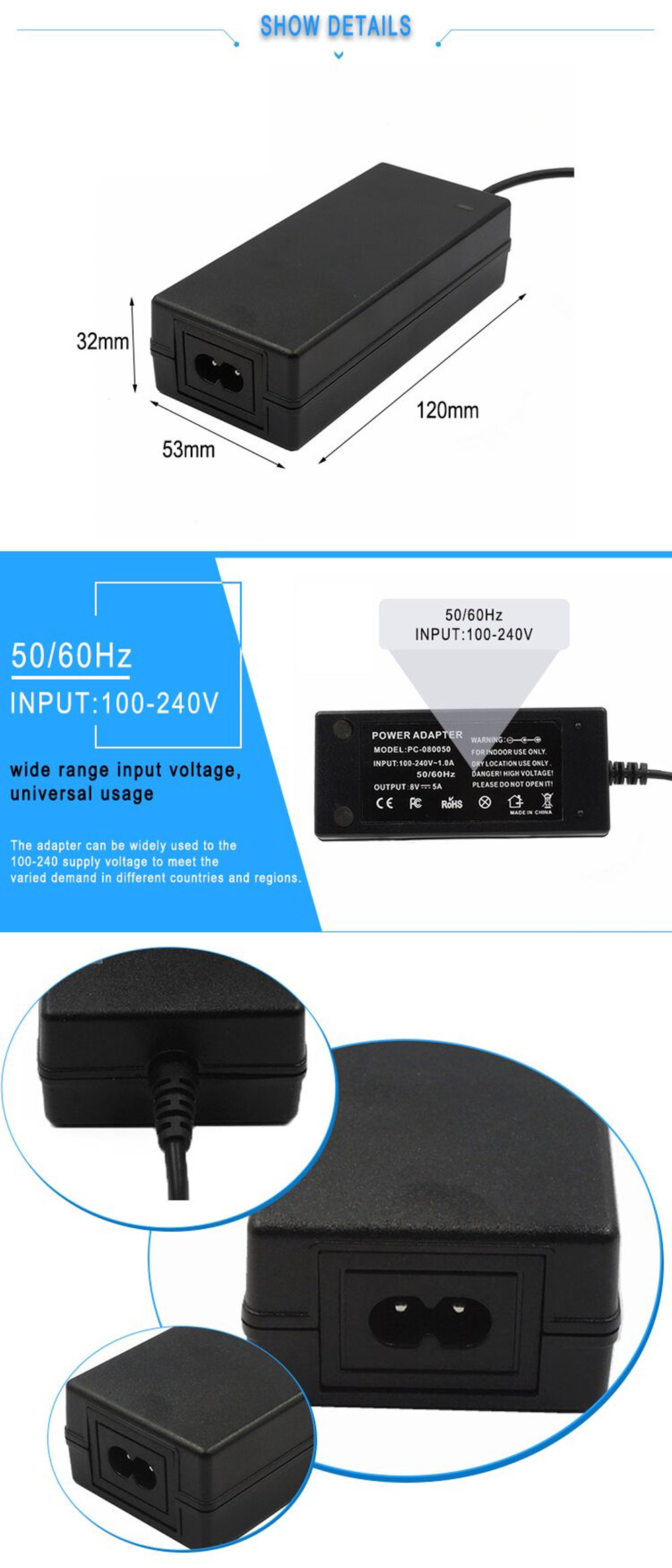 single output 12v 5a ac dc power adapter 60w for LED light