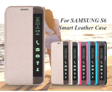 Smart Touch Window View PU Leather Case for Samsung Galaxy S6 /S6 Edge Flip Stand Sleep Auto Wake Clear Side Cover