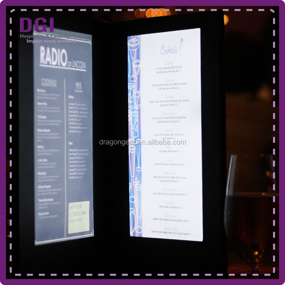 Long operation time illuminated menu holders / led light stand for hotel bar light (Patent 2014-2-0239452.0)