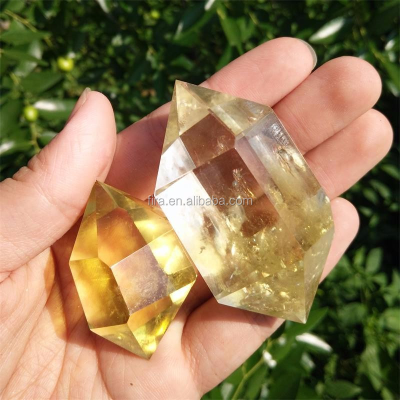 Spiritual Healing Natural Citrine Crystal Point Wand Double Terminated Zero Point Energy Wand Wholesale