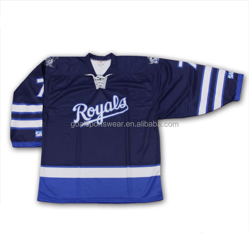 100% polyester sublimation inline canada school blue hockey jersey