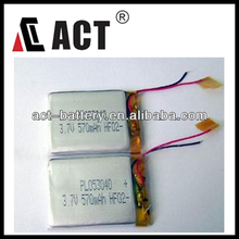 ACT li-ion polymer 053040 570MAH 3.7V rechargeable battery