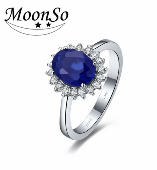 Fashion Jewelry Oval Sapphire Stone 925 Sterling Silver Ring For Women Girl AR1939S