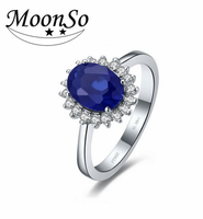Fashion Jewelry oval sapphire stone 925 sterling silver ring for women girl jewelry AR1939S