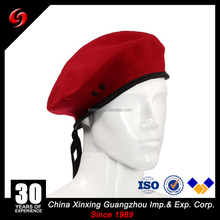 64s Yarn Count Red Military Beret 100% Wool 70grams Beret Leather Webbing Binding Satin Lining Army Beret