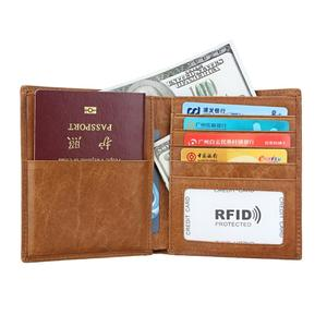 Personalized RFID Travel Wallet Genuine Leather Cowhide Leather Passport Card Holder for Man