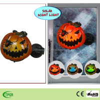 Polyresin Halloween pumpkin window indoor led solar night light
