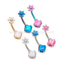 Wholesale Belly Button Navel Rings Banana Barbell 14 Gauge Opal Body Piercing Jewelry