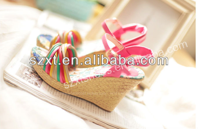 High heel wedge sandal colorful rainbow straw wedge heel shoes new design fashion flat summer sandals 2016